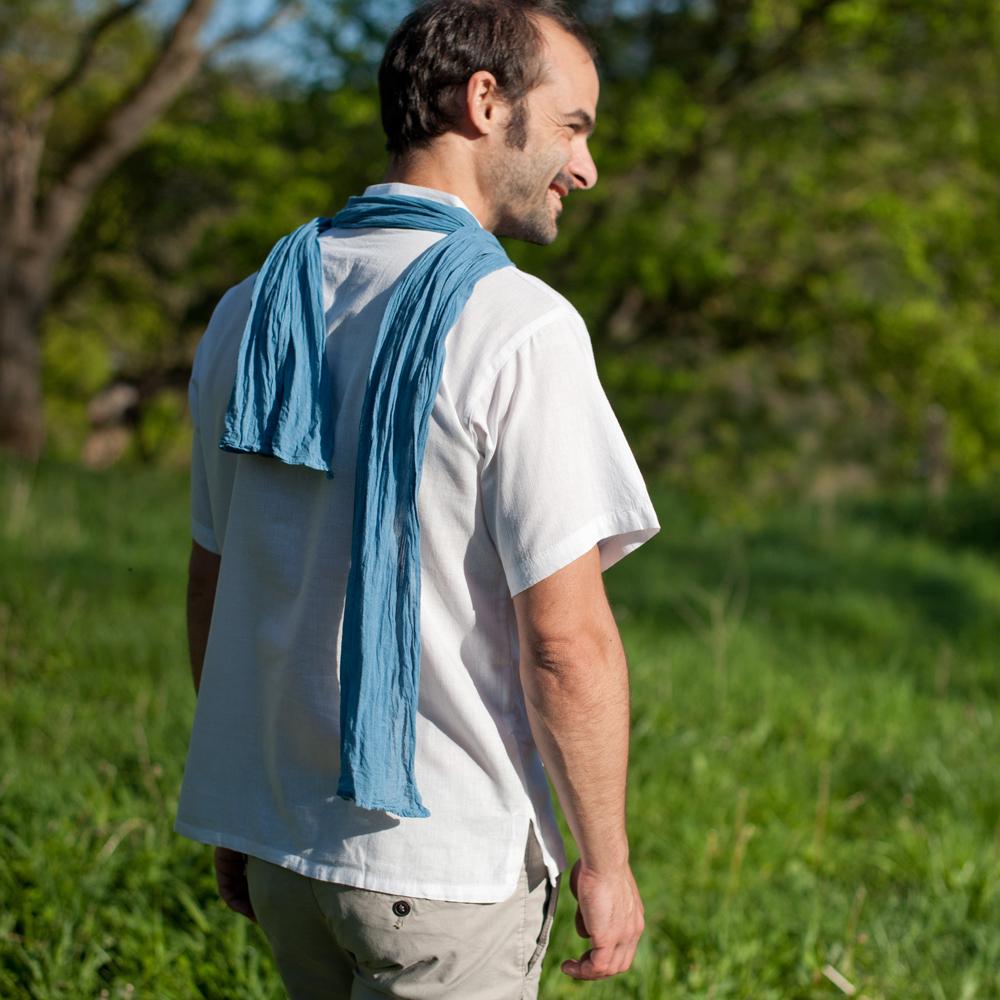 foulard voile de coton bio pastel des teinturiers bleu azur. Black Bedroom Furniture Sets. Home Design Ideas