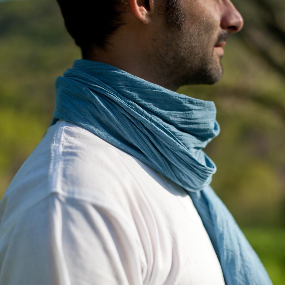 nouveau style et luxe mode la plus désirable incroyable sélection Foulard voile de coton bio Pastel | Bleu Azur
