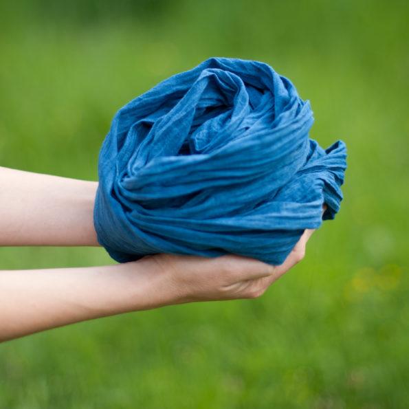 Chèche voile de coton bio Indigo | Bleu crépuscule