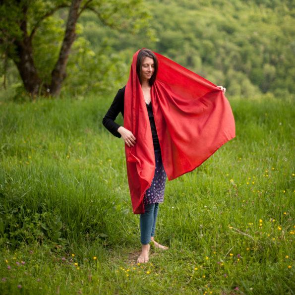 Étole rouge Garance en soie