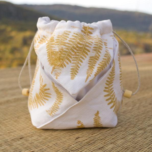 Sac origami – impressions végétales – Fougère –
