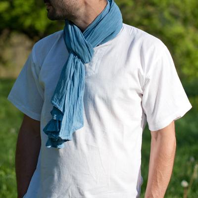 Chèche voile de coton bio Pastel | Bleu Azur