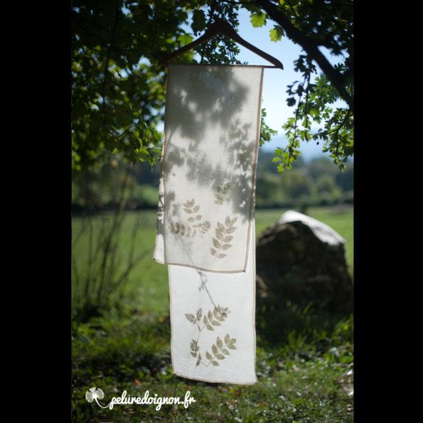 Foulard Feuille de Frêne | Empreintes végétales, voile de coton bio.
