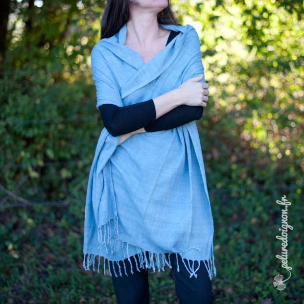 Écharpe en soie sauvage Pastel | Bleu Ciel