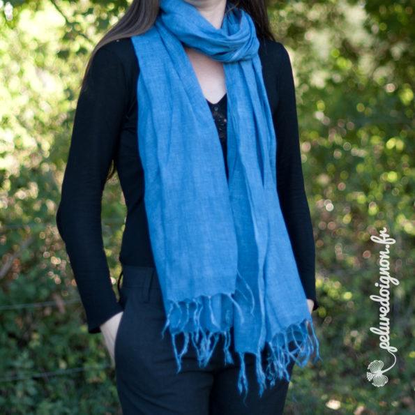 Étole en lin Pastel | Bleu Azur