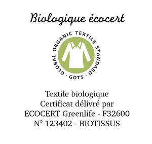 Coton biologique écocert.