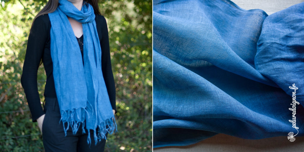 charpe lin tiss e et fil e artisanalement pastel des teinturiers bleu azur. Black Bedroom Furniture Sets. Home Design Ideas